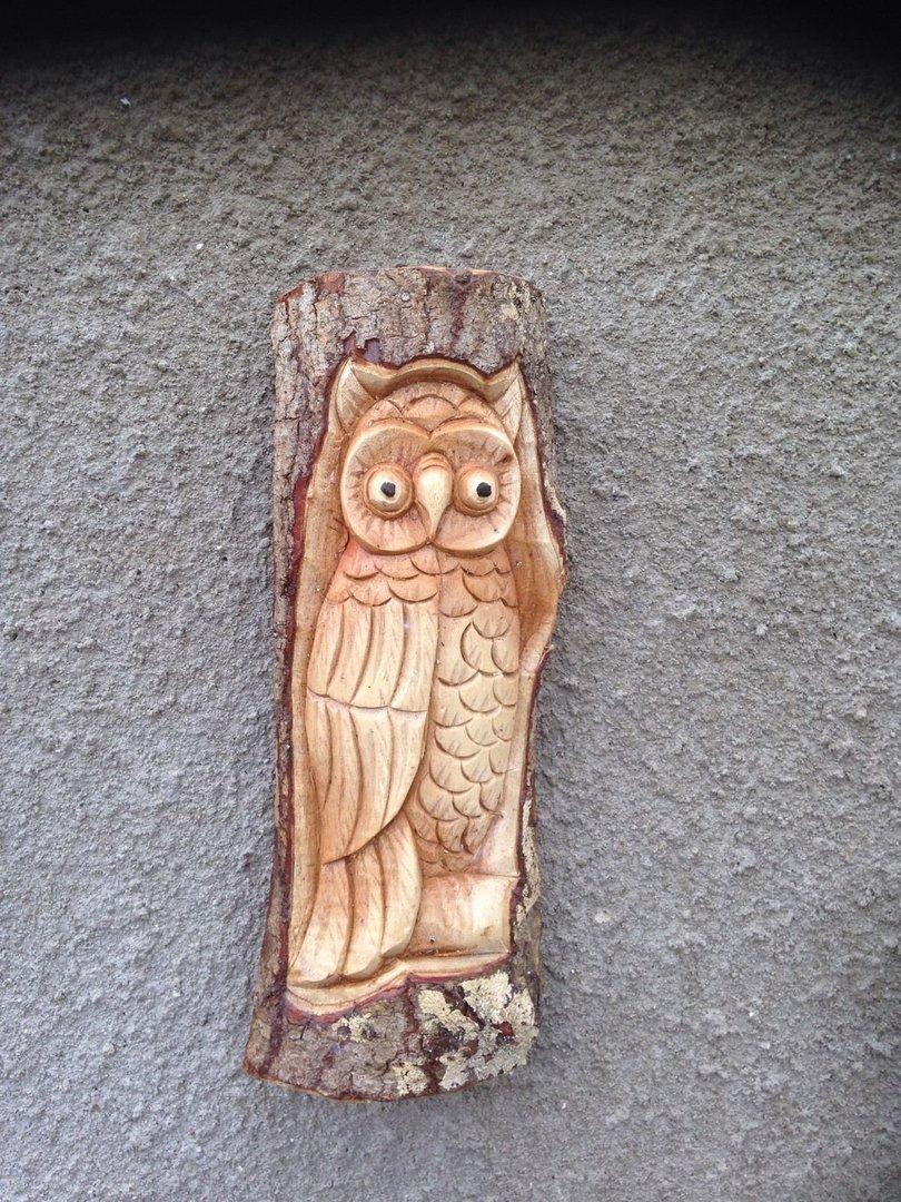 Wooden Owl Log Carving Chiselcraft