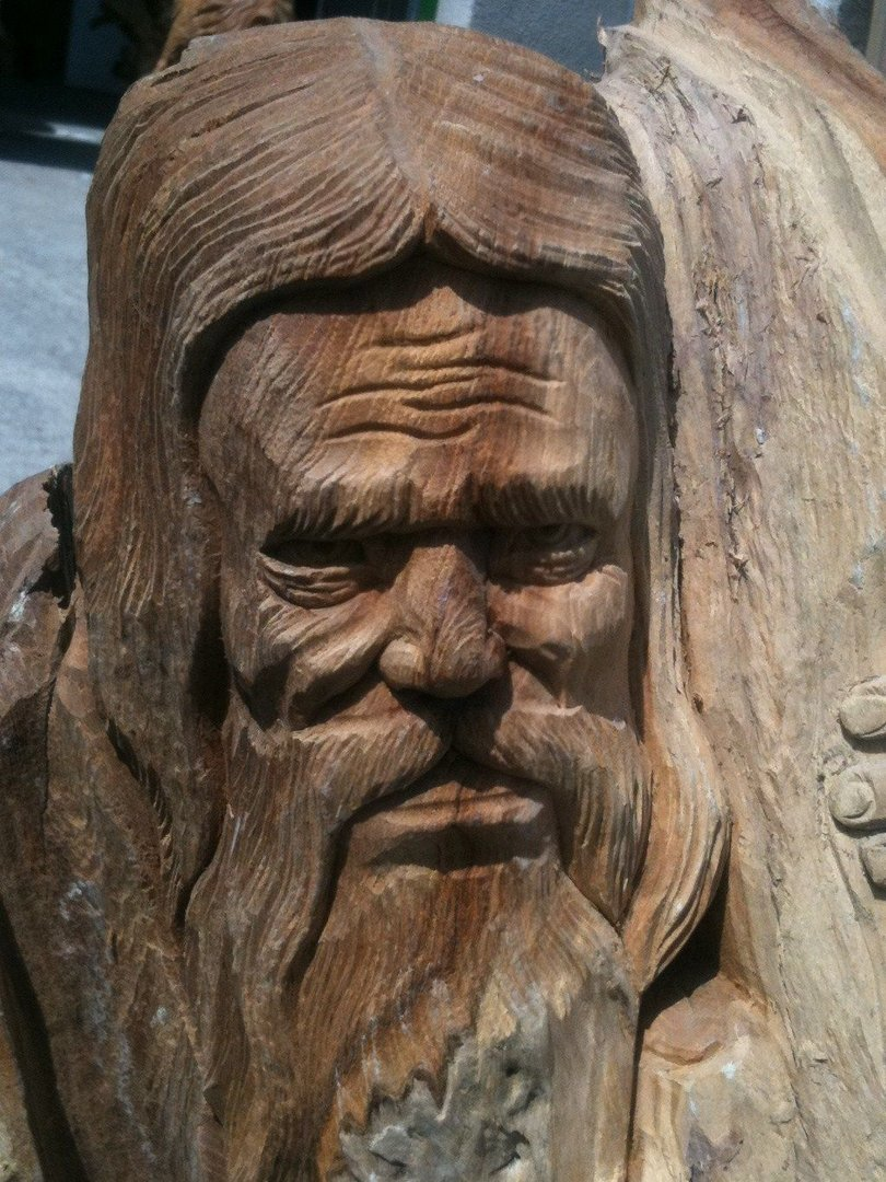 Teak wood old man carving chiselcraft