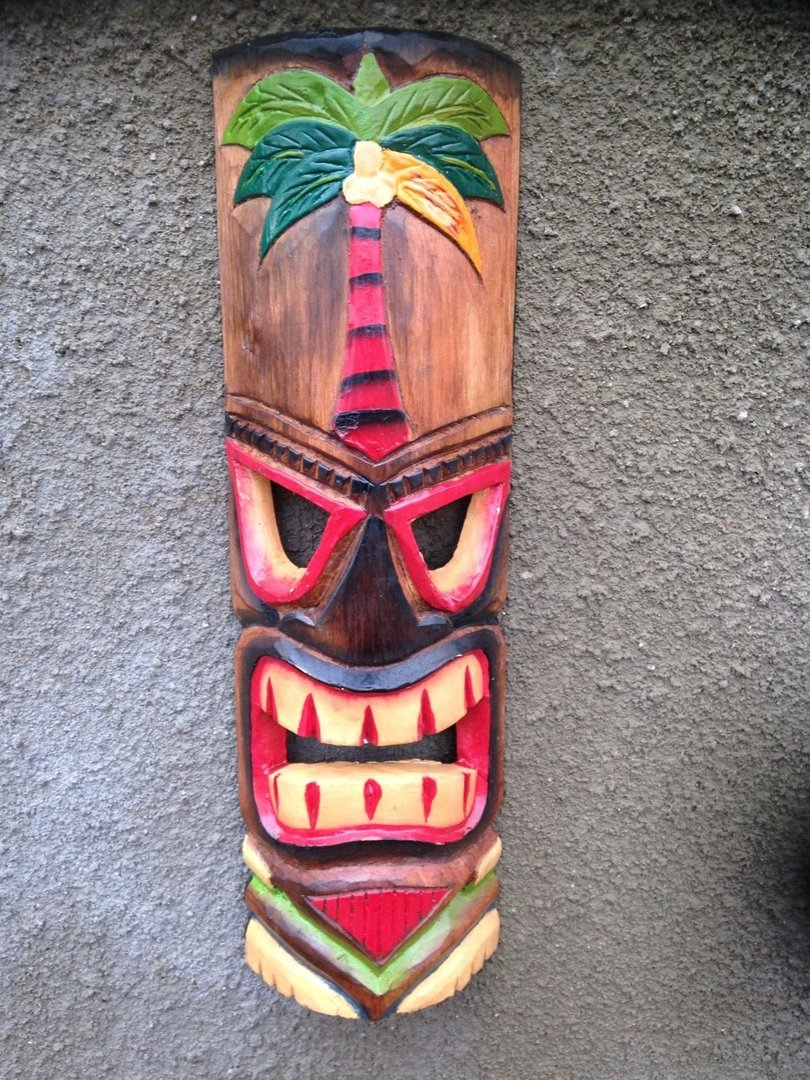 Wooden Tiki Mask Palm Tree B - ChiselCraft