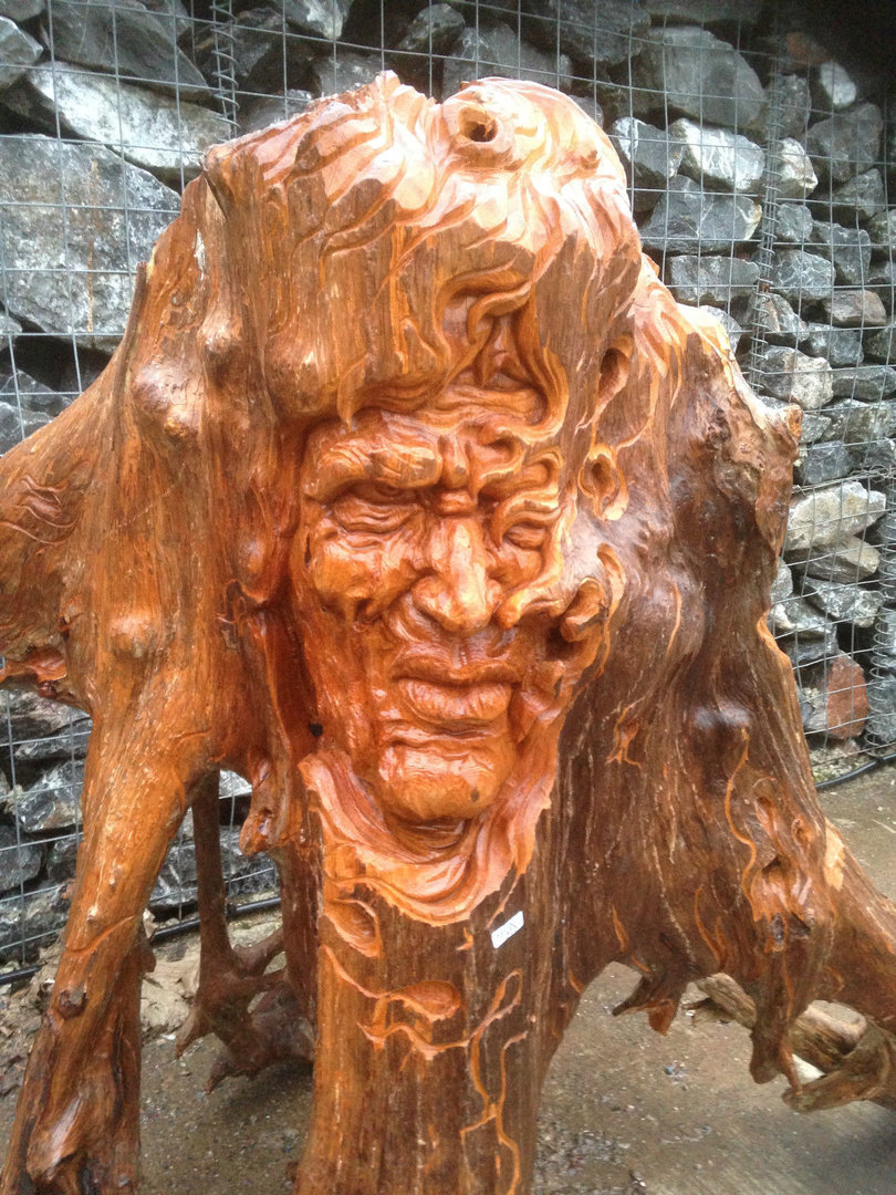 Wooden teak root carving the warrior chiselcraft