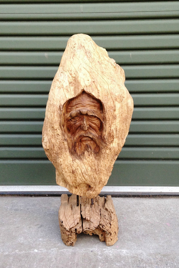 Teak wood carving the old man chiselcraft