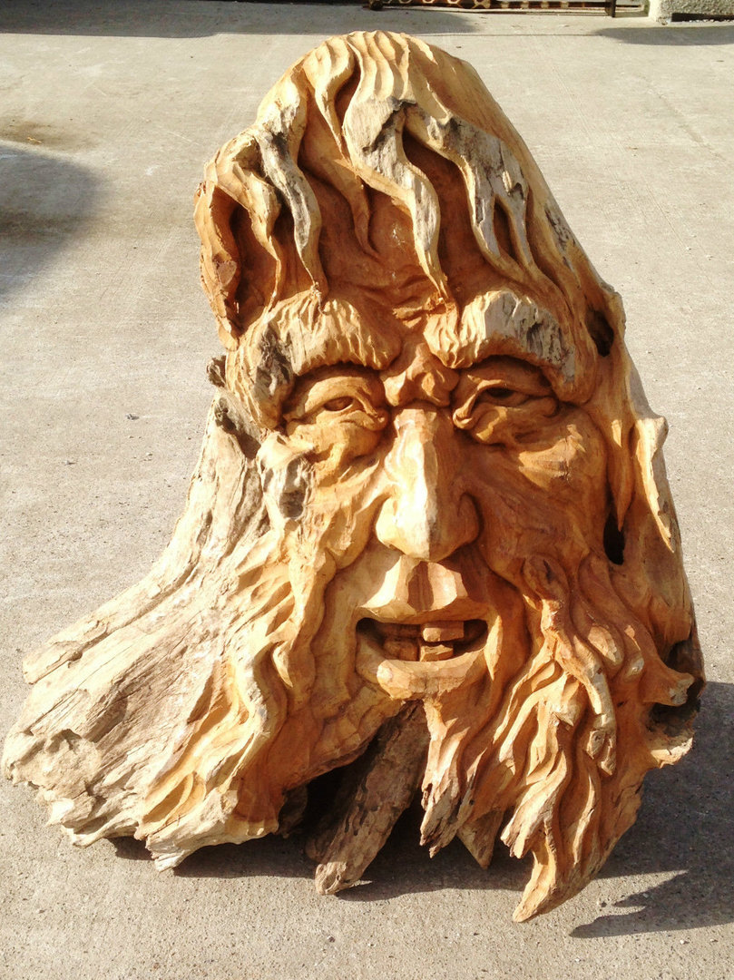 Teak wood carving the green man chiselcraft
