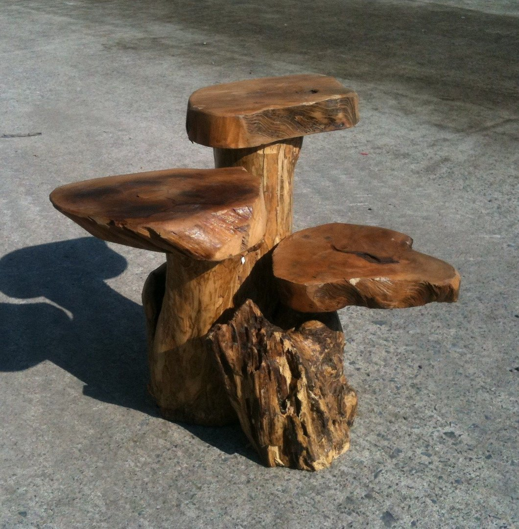 Wooden 3 Tier Coffee Root Table Plant Stand Chiselcraft